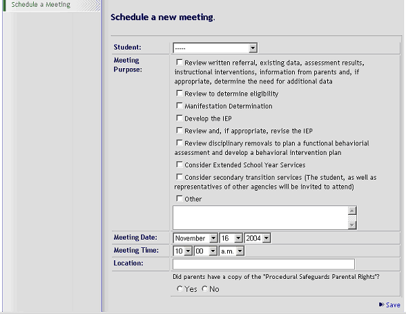 CTE - IEP User Guide: Meetings - Schedule a Meeting